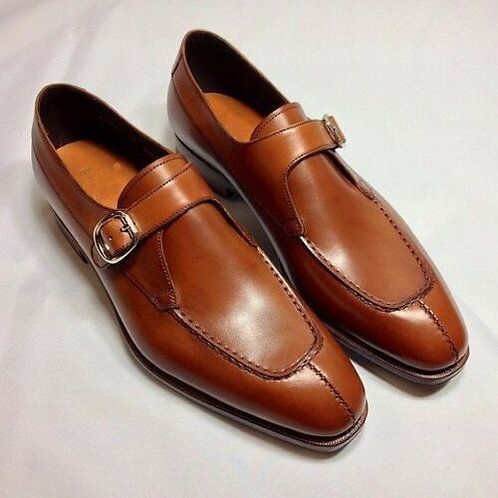 Handmade Brown Split toe Buckle Leather Dress Shoes