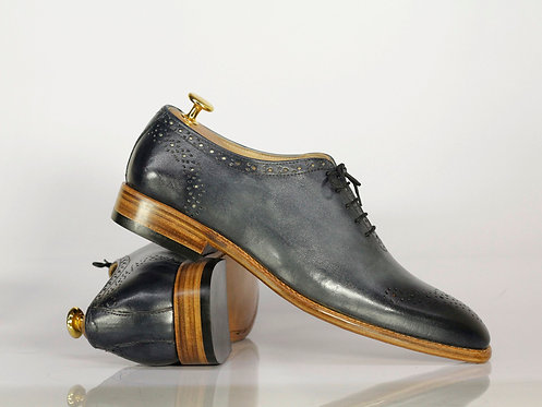 Gray Brogue Lace Up Leather Formal Shoes