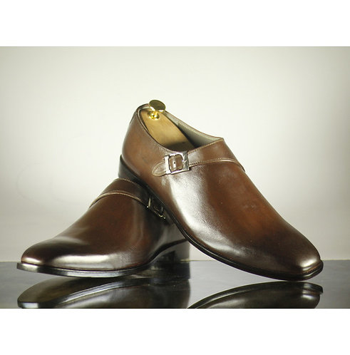 Oxford Men's Brown Leather Buckle Shoes,Handmade Dress Shoes