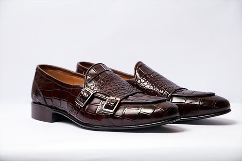Double Monk Alligator Texture Loafer Shoes For Men