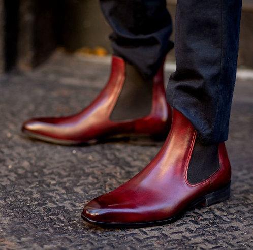 Handmade Burgundy Chelsea Leather Ankle Boot For Men's