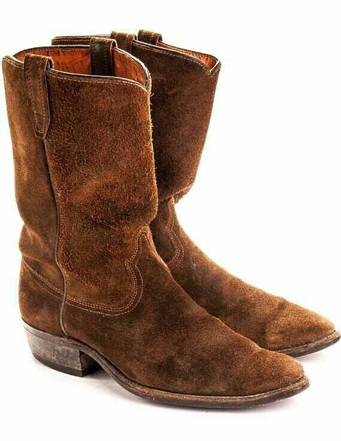 New Handmade Pure Suede Leather Dark Tan Cowboy Boots for Men's