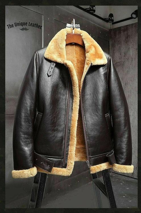 Men's Aviator Pilot RAF B3 Flying Bomber Fur Shearling Sheepskin Leather Jacket