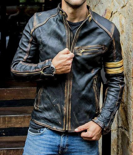 Men's Black Biker Vintage Motorcycle Distressed Cafe Racer Moto Leather Jacket
