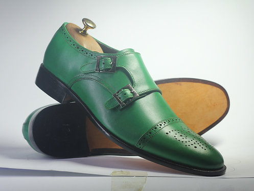 Handmade Green Cap Toe Double Monk Oxford Leather Shoes