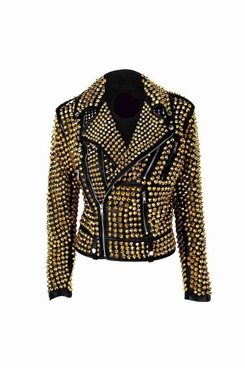 Woman Luxury Black Punk Golden Studded Cowhide Brando Leather Jacket XS TO 6XL