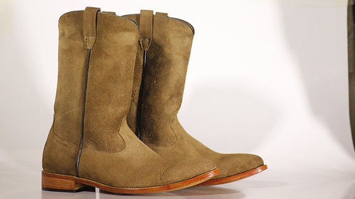 Men's Beige Suede Ankle High Long Boot For Men