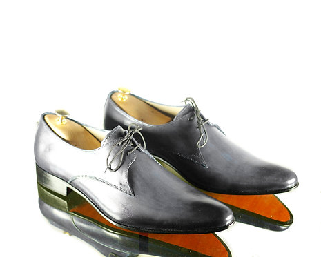 Handmade Men's Gray Pointed Toe Leather Oxford Fashion Shoes