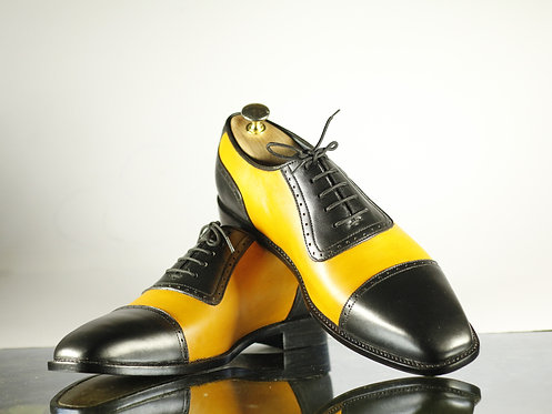 Cap Toe Brogue Two Tone Lace Up Leather Shoes