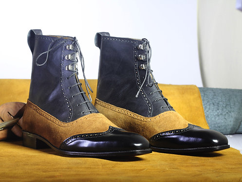 Black & Tan Ankle High Lace Up Leather Suede Boot