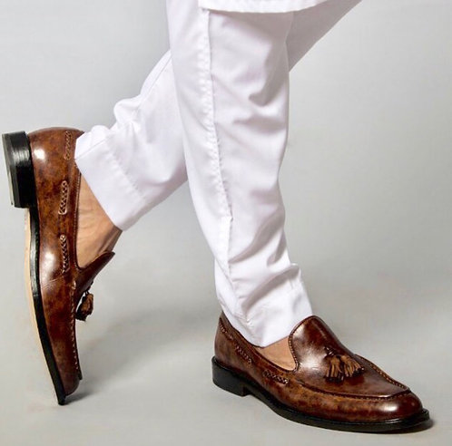 Brown Vintage Slip On Tasseled Leather Loafers