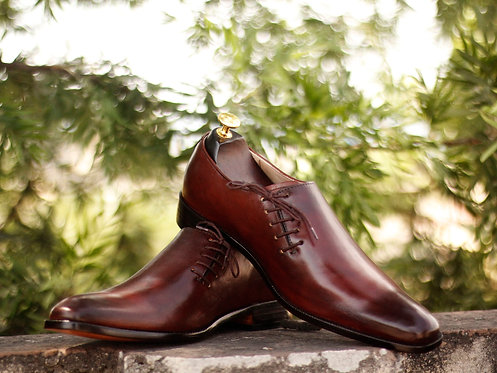 Burgundy Side Lace Up Dress Leather shoes for Men