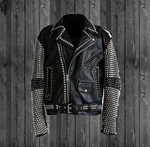 Men Silver Studded Black Leather Biker Jacket