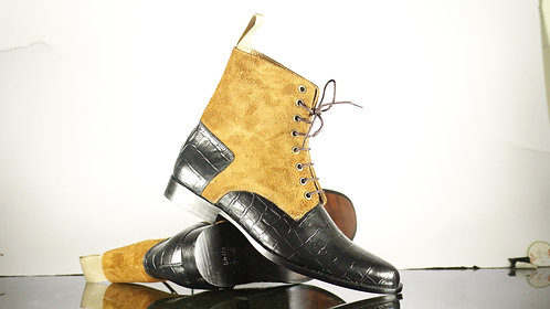 Handmade Black & Beige Leather Suede Lace Up Boot ,Men Dress Boot
