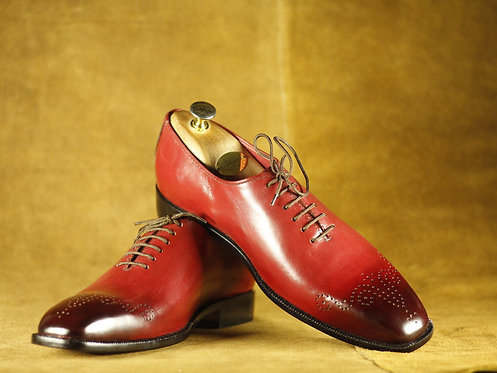 All leather Men Burgundy Shoes Brogues Toe Shoes