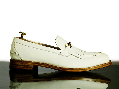 Handmade Mens Moccasin Shoes White Leather Shoes