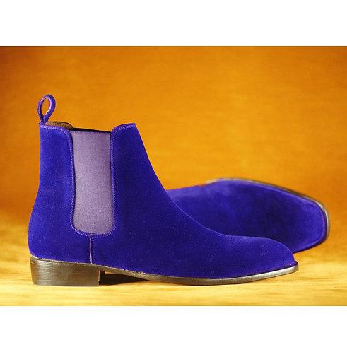 Men's Blue Velvet Ankle Chelsea Oxford Boot