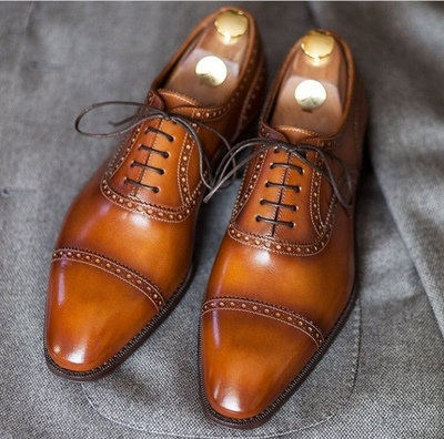 Tan Brogue Wing Tip Lace Up Leather Shoes