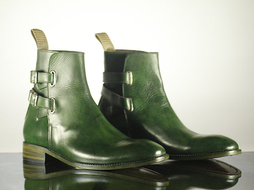 Oxford Green Double Buckle Straps Leather Boot