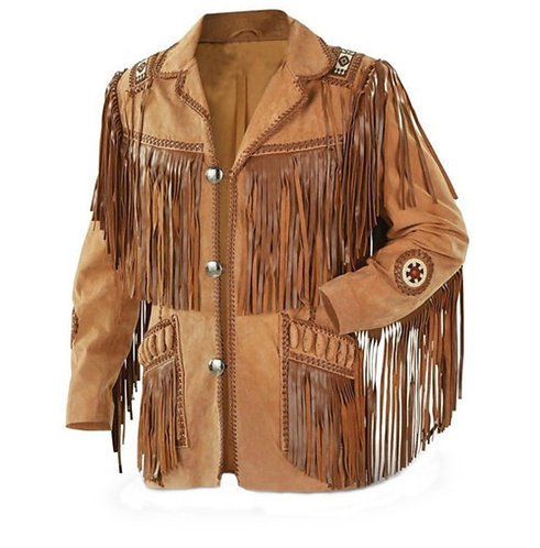 Men's New Tan Western Suede Cow Leather Jacket Fringes,Cowboy Jacket