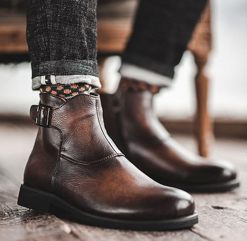 Ankle High Buckle Strap Cordovan Leather Boot