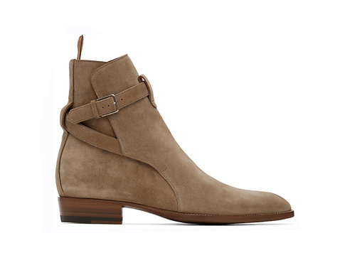 Men's Jodhpurs Beige Boots Buckle Designer Ankle Boots