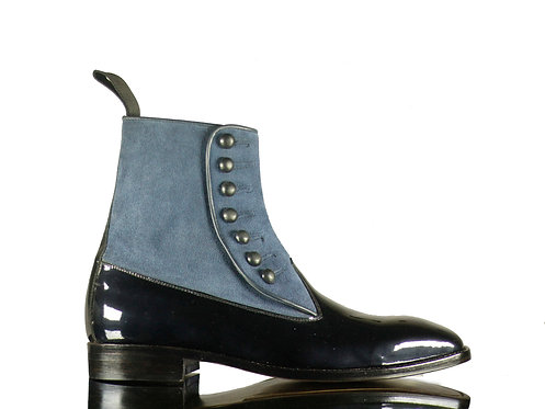 Men Blue Suede &  Patent Leather Button Boots ankle boots
