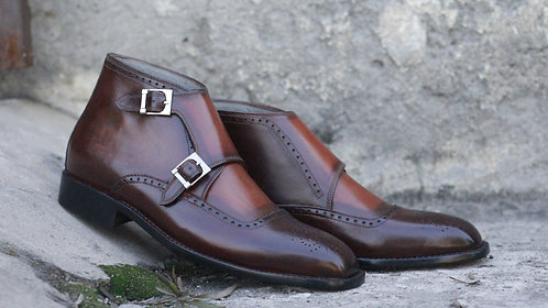 Classical Cordovan Half Ankle Monk Leather Boot
