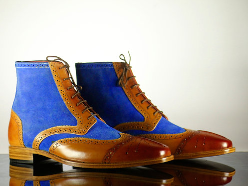 Men's Blue Brown Wing Tip Leather Suede Ankle Button top Boot