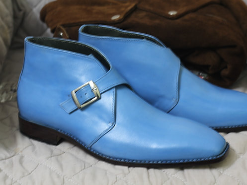 Handmade Men's Blue Half Ankle Leather Monk Dress Boot