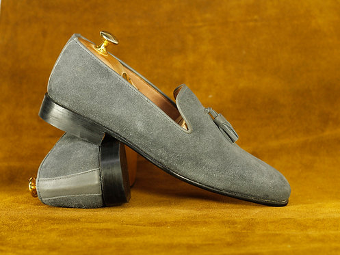 Round Toe Hand Painted Gray Leather Suede Tasseled Loafers