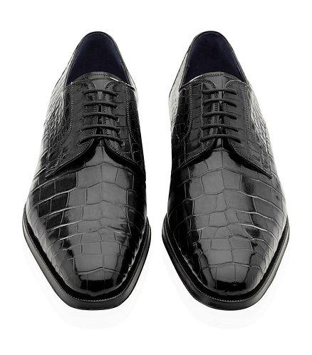 Alligator Texture Black Lace Up Leather Shoes