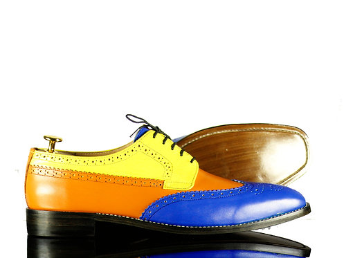 Men's Multi color Leather Shoes Wing tip