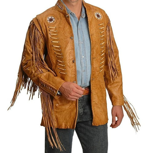 Men Cowboy Style Leather Jacket, Western Style Fringe Leather Jackets