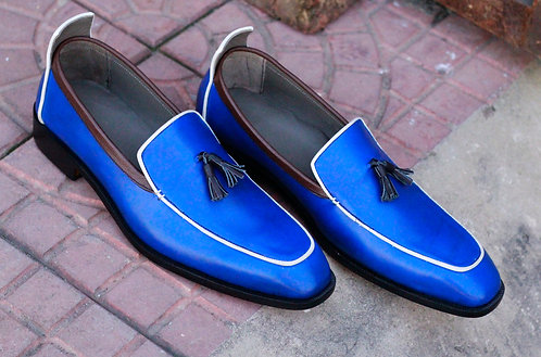 Royal Blue Tasseled Slip On Leather Loafers