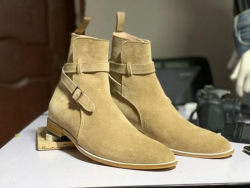 Ankle High Beige Jodhpurs Men's Stylish Boot