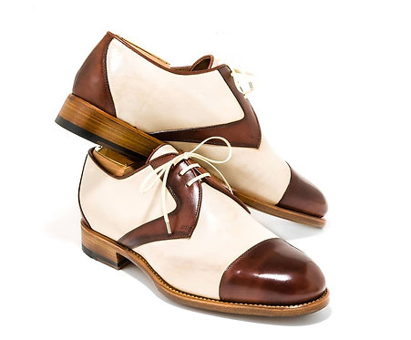 Two Tone Cap Toe Lace Up Leather Shoes