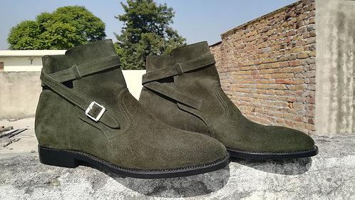 Handmade Olive Green Men Ankle Jodhpurs Dress Suede Boot