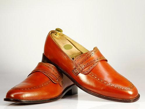 Tan Bespoke Men's Slip On Leather Oxford Shoes
