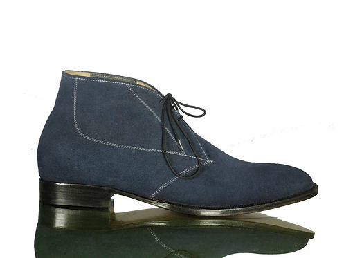 Men's Bespoke Chukka Suede Navy Boots Ankle Boots