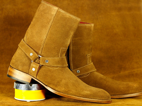 Men's Beige Ankle Suede Madrid Straps Designer Fashion Boot