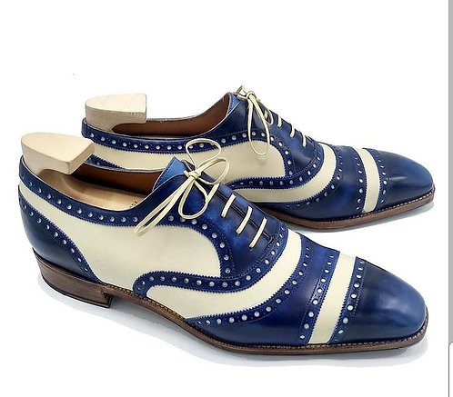 Bespoke Blue White Cap Toe Lace Up Pure Leather Shoes For Men's