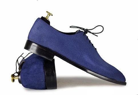Handmade Blue Lace Up Leather Suede Men's Shoes