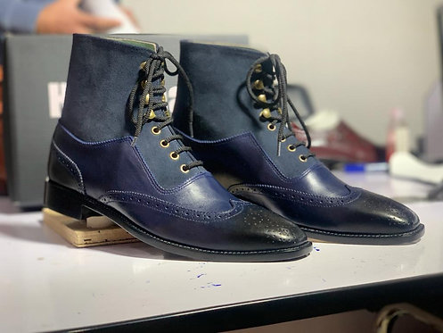 Ankle High Navy Blue Wing Tip Leather Suede Boot