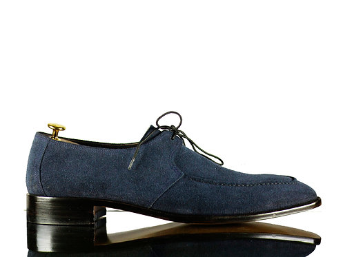 Bespoke Men Derby Navy Suede Leather Shoes