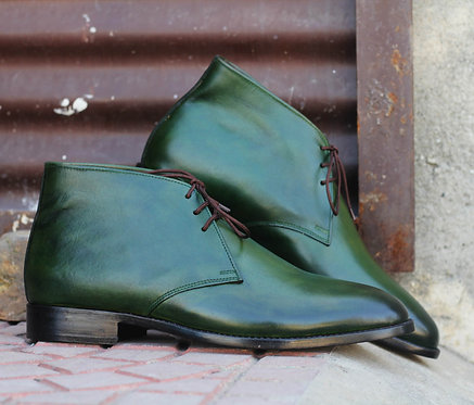 Hand Painted Green Half Ankle Leather Lace Up Boot