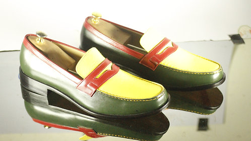 Handmade Multi Color Penny Loafers Slip Ons Dress Shoes