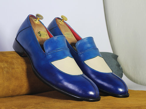 Split Toe White Blue Slip On Leather Shoes