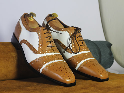Tan White Cap Toe Leather Suede Brogue Shoes