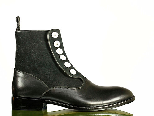 Men's Black Button Boots Ankle High Leather Boots